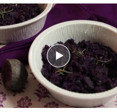 Patate viola condite con olio extravergine e rosmarino